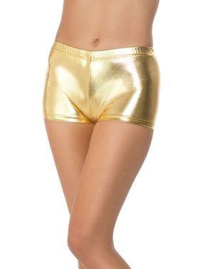 calções curtos dourados para mulher