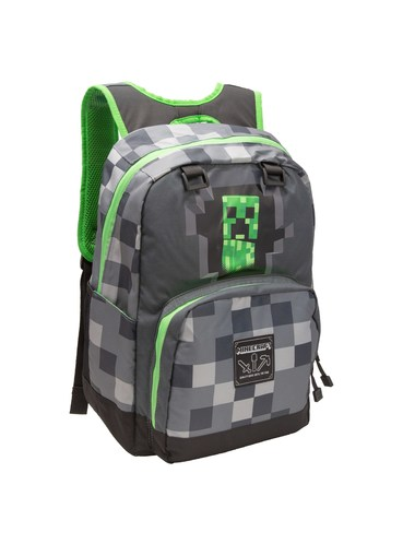 Grey Minecraft Creepy Creeper Backpack Official For Fans