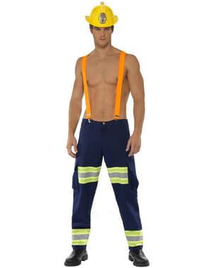 Fato de bombeiro fogoso Fever para homem