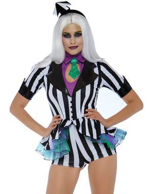 Svart og Hvit Stripet Spøkelse Kostyme til Dame