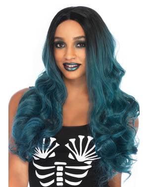 Peluca azul degradado para mujer
