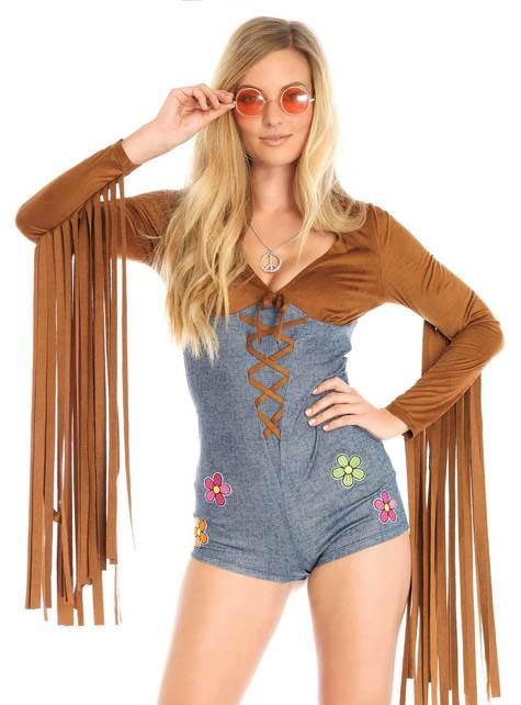 Disfraz de hippie sexy deluxe para mujer