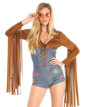 Deluxe sexy hippie kostyme til dame