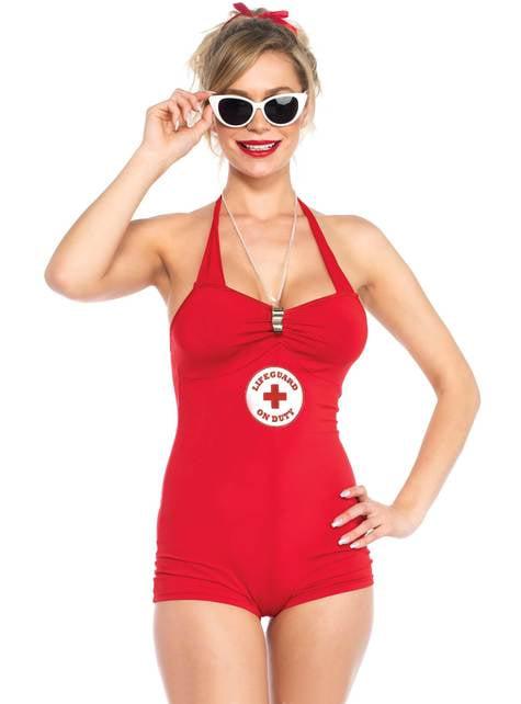 Fato de nadadora-salvadora sexy para mulher