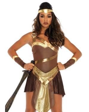 Maskeraddräkt gladiator guldig dam