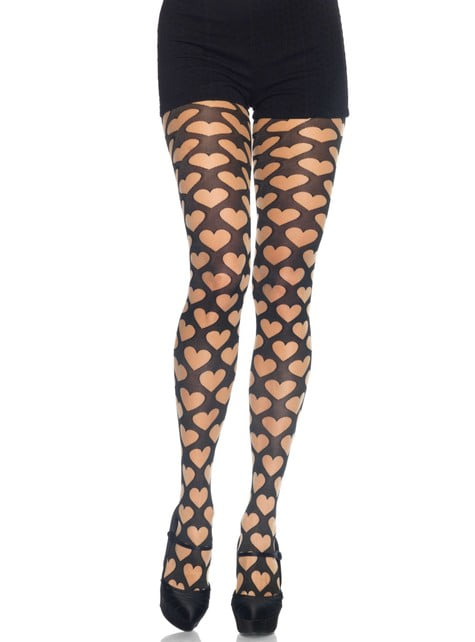 Black hearts tights for women