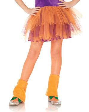 Orange fishnet tights for girls
