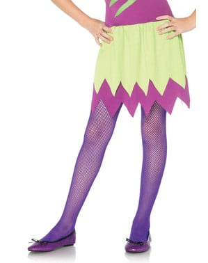 Purple fishnet tights for girls