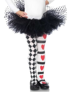 Harlequin hearts tights for girls