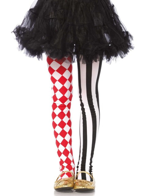 Red and black harlequin tights for girls