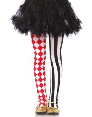 Røde og sorte harlequin strømpebukser til piger