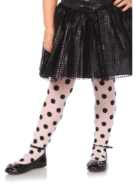 Collants de pintas pretas para menina