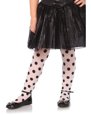 Dívčí punčochy černé tečkované