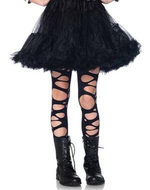 Zwart gescheurde panty voor meisjes