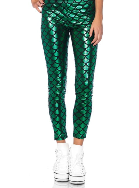 Green mermaid leggings for women