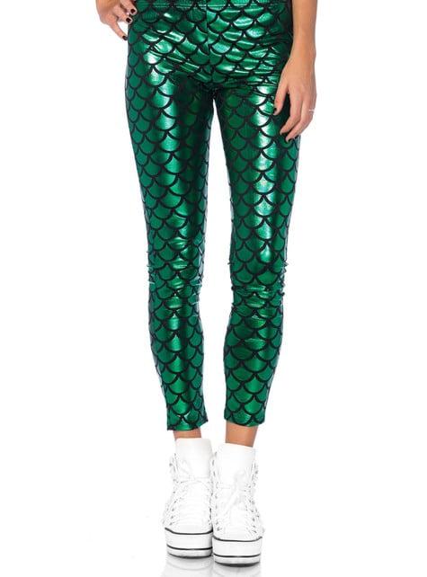 Leggings de sirena verde para mujer