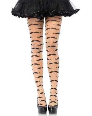 Mustache tights for women