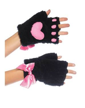Black gloves with pink footprints for women