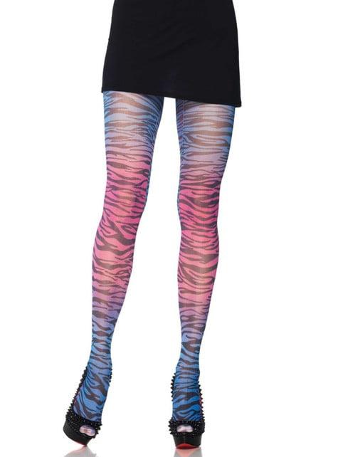 Collants zèbre multicolore femme