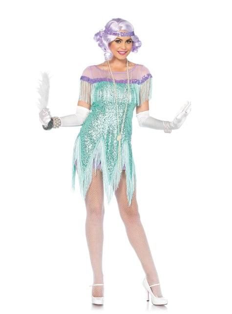 Disfraz de los años 20 turquesa para mujer