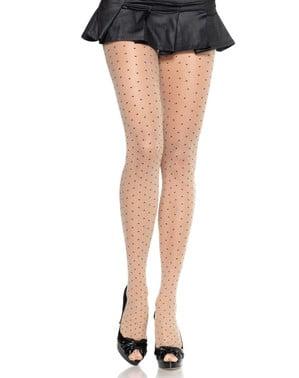 Pantys de topos negros para mujer