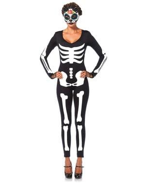 Fato de esqueleto sexy segunda pele para mulher