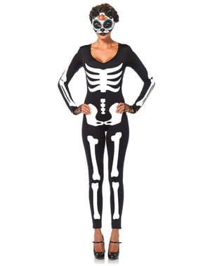 Sexy second skin skeleton costume for women