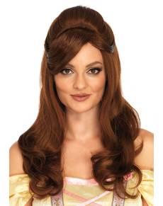 Peluca de princesa Bella deluxe para mujer