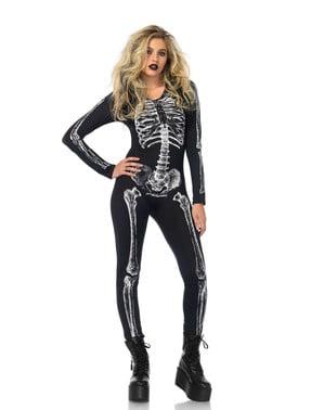 Fato de esqueleto raios X para mulher