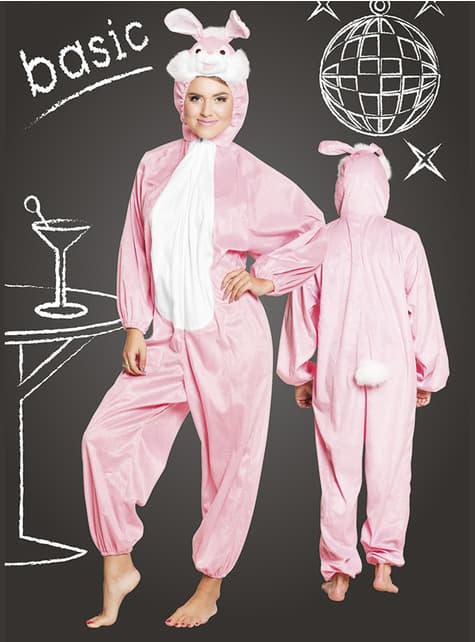 Fato de coelho cor-de-rosa onesie para adulto