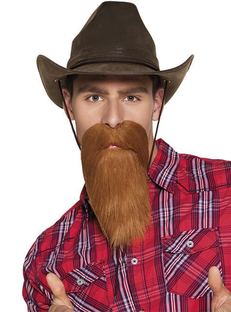 Barbă de cowboy roșcată pentru bărbat