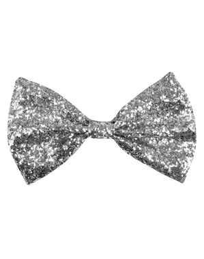 Shiny silver New Year's Eve bow tie for adults
