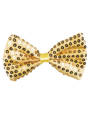 New Year's shiny gold bowtie for adults