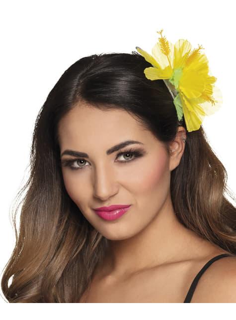 Flor hawaiana amarilla para el pelo - para tu disfraz