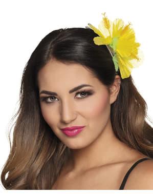 Flor havaiana amarela para o cabelo