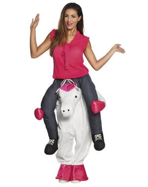 Costume Ride On da unicorno fantasia per adulto