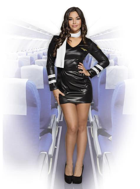 Disfraz de azafata negro para mujer - original