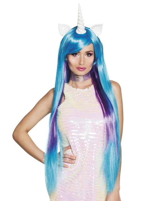 Peluca de unicornio azul para mujer