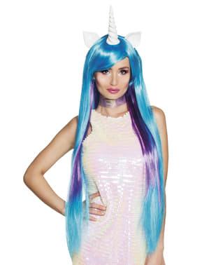 Blue unicorn wig for women
