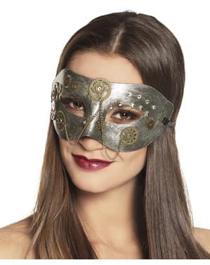 Sølv steampunk maske med tandhjul til voksne