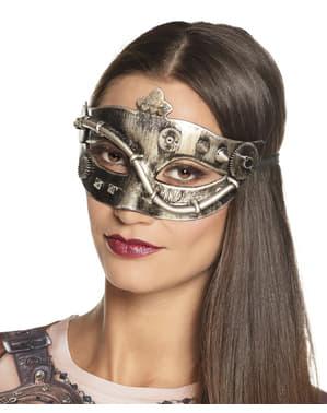 Maschera steampunk con ingranaggi dorata per adulto