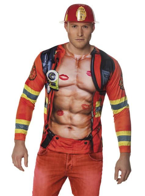 T-shirt de bombeiro sexy para homem