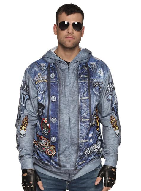Niebieska bluza kurtka motocyklisty dla mężczyzn