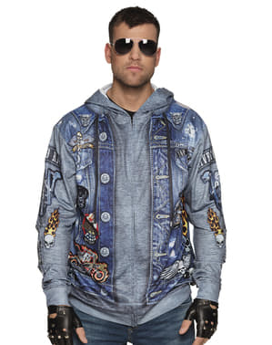 Blue motorcycle driver jacket for men