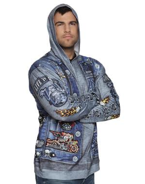 Casaco de motociclista azul para homem