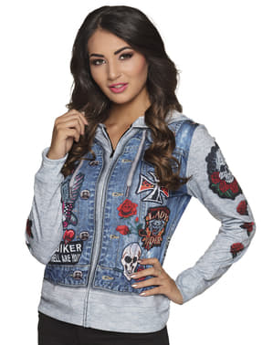 Blue motorcycle driver jacket for women