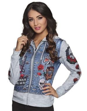 Jachetă de motociclist albastră pentru femeie