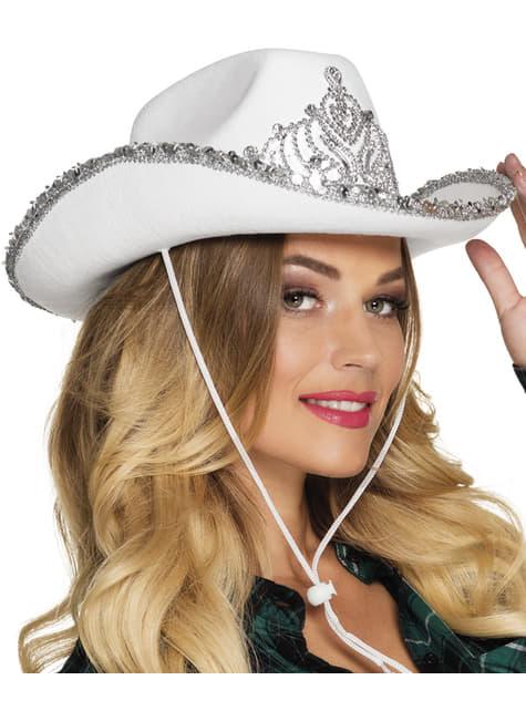 Sombrero de cowboy blanco y plateado para adulto - para tu disfraz