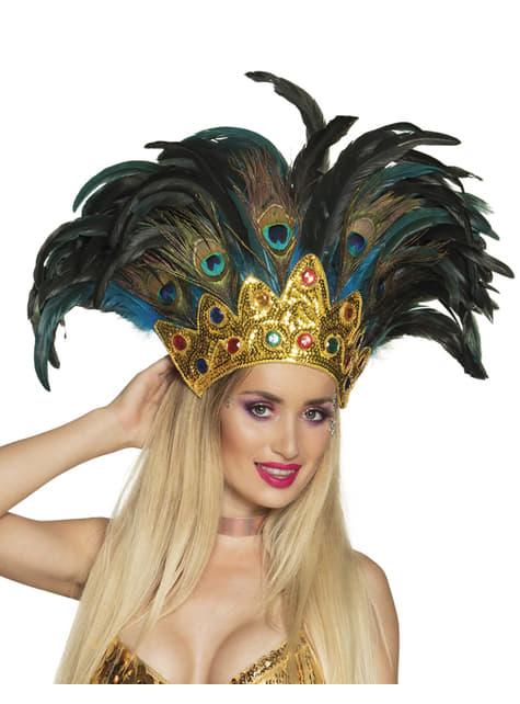 Tocado de pavo real de carnaval para adulto - para tu disfraz
