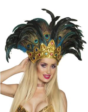 Tocado de pavo real de carnaval para adulto